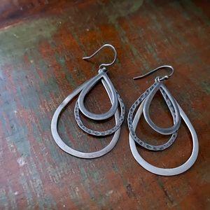 Silpada Hammered Tear drop dangle earrings